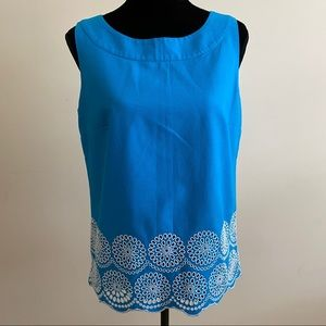 Talbots Sleeveless Embroidered Blouse
